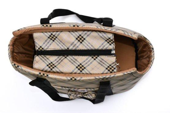 Chic Tan Plaid Carrier Bag